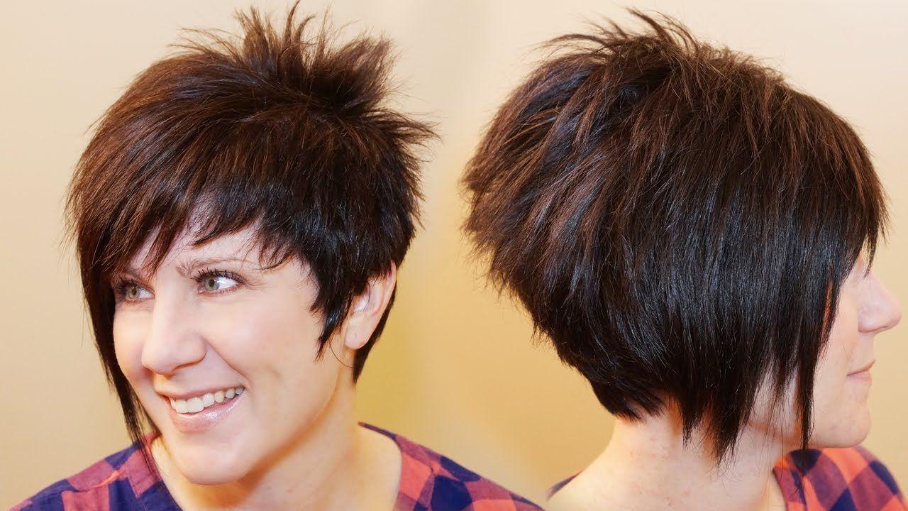 How To Cut Womens Hair Short Pixie Assymetrical A Line Haircut