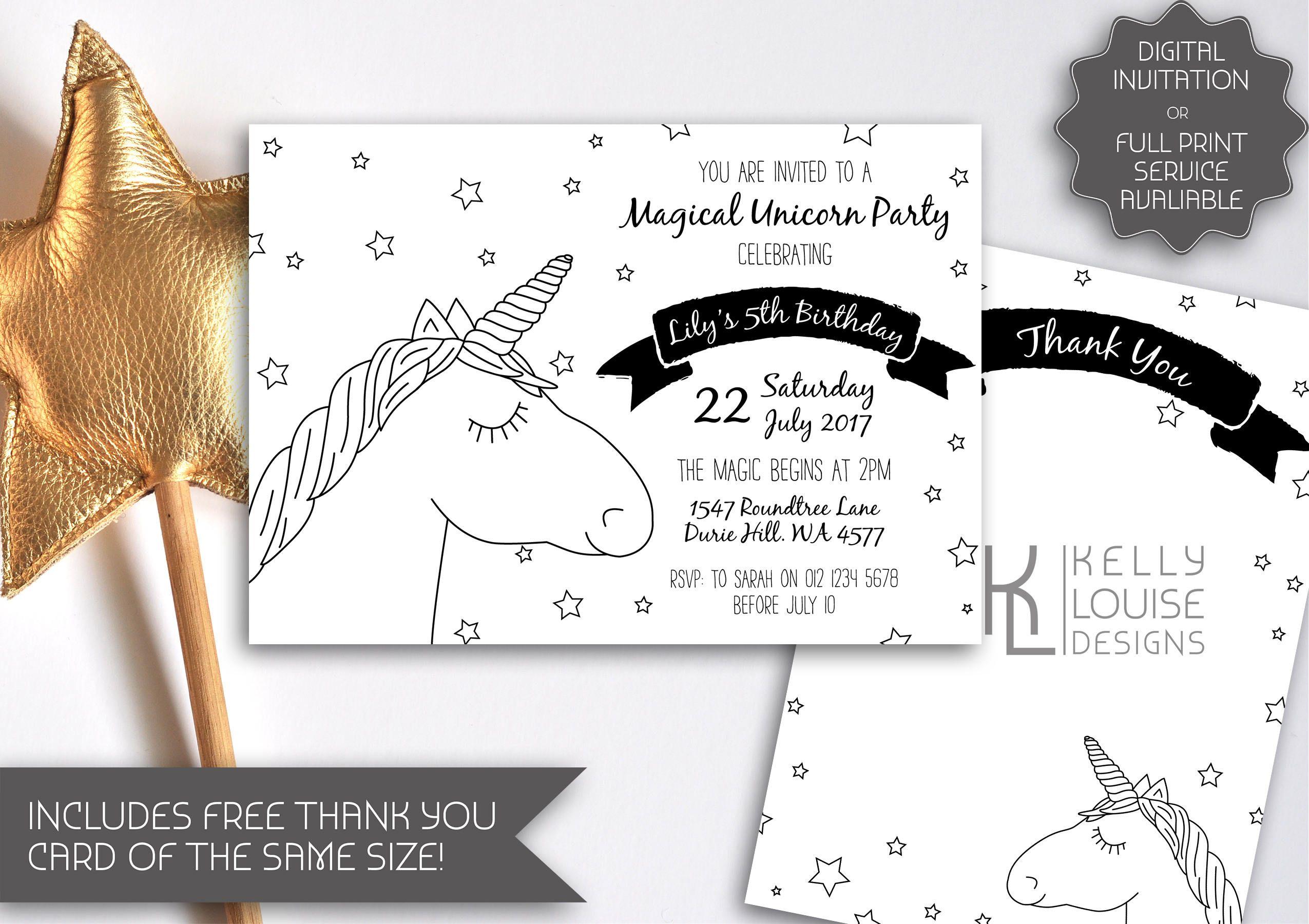 black white unicorn invitation