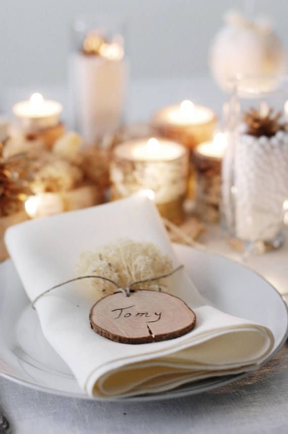 Christmas Gift Tags Name Tags Diy Wooden Ornaments Diy Wood Slices With Rope Thanksgiving Table Settings Thanksgiving Table Decorations Wooden Ornaments Diy