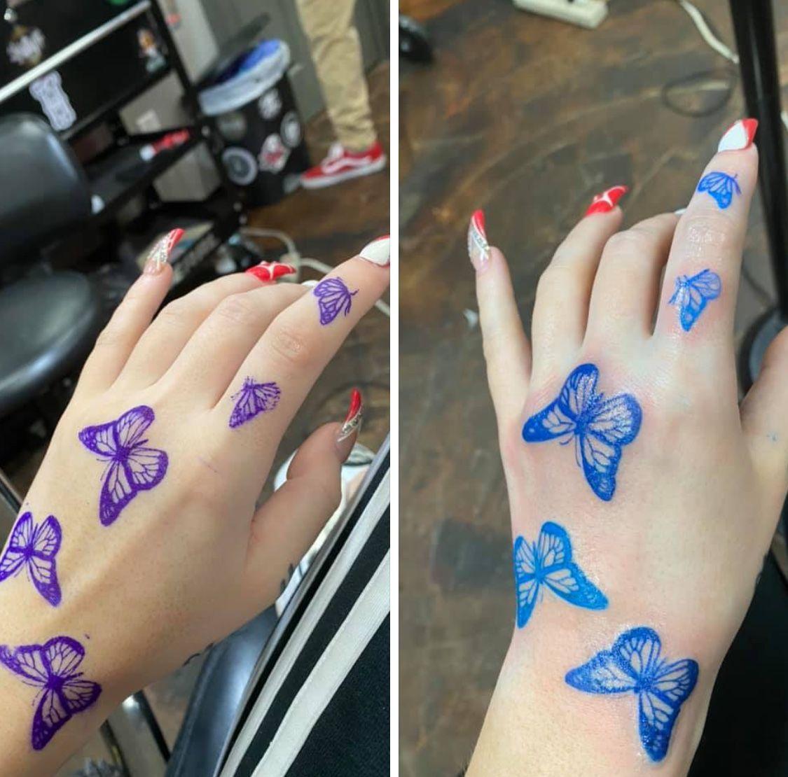 36++ Best Butterfly hand tattoo blue ideas