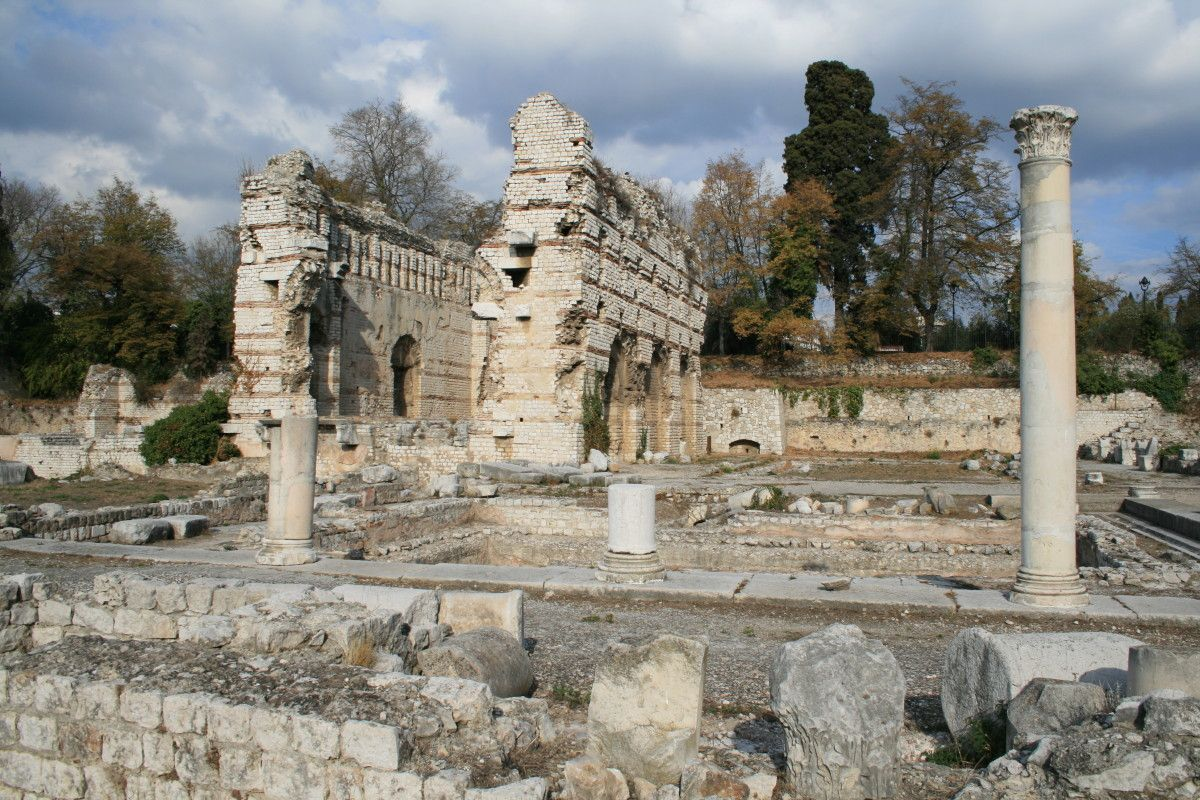 Cemenelum. Nice was settled by ancient Greeks and this is an ancient Roman ruin near the city.