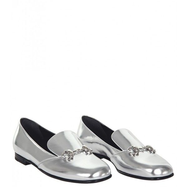 1595ff3d0eb Gucci Silver Metallic Leather Horsebit Loafer (34.555 RUB) ❤ liked on  Polyvore featuring shoes