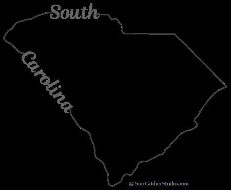 South Carolina Map Outline Printable State Shape Stencil Pattern Map Outline South Carolina Map