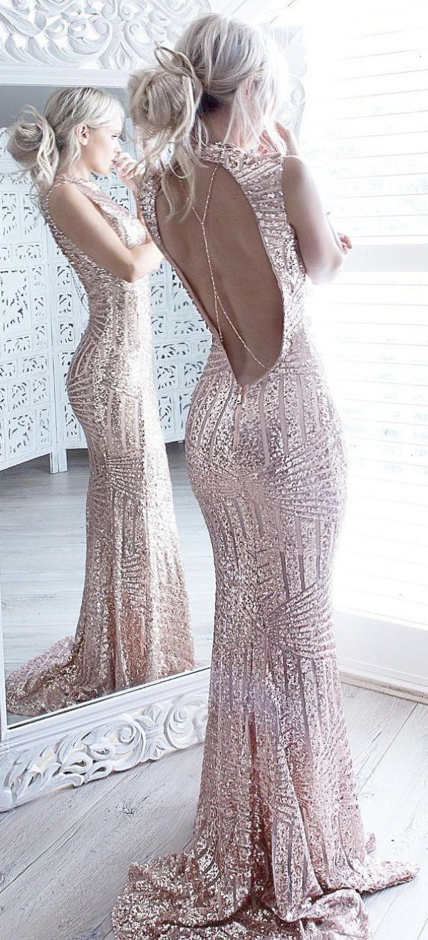 Winter fashion rose gold sequin open back maxi be featured in