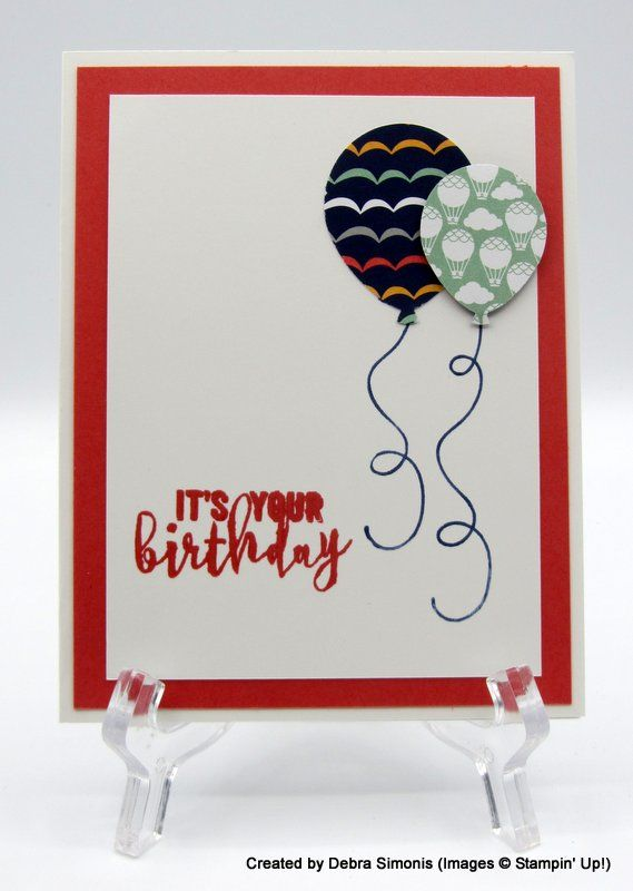 Clean And Simple Card Using Balloon Bouquet Punch Easy For Kids To Make