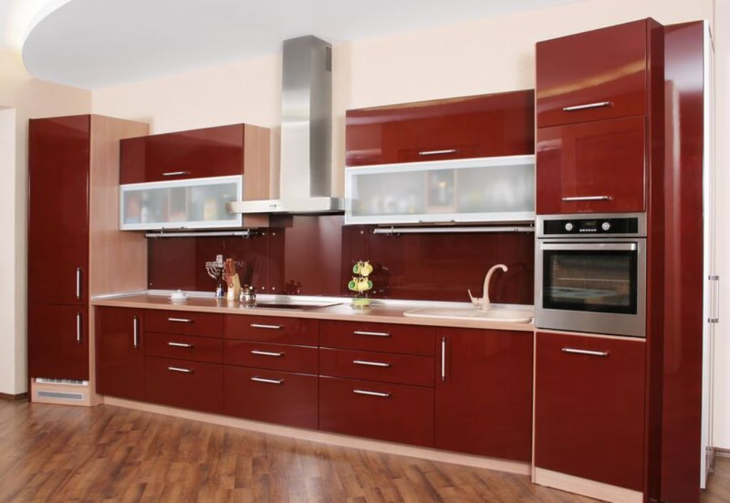 sleek kitchen with burnt red cabinets home style kitchen rh pinterest com sleek kitchen cabinets india steel kitchen cabinets for sale