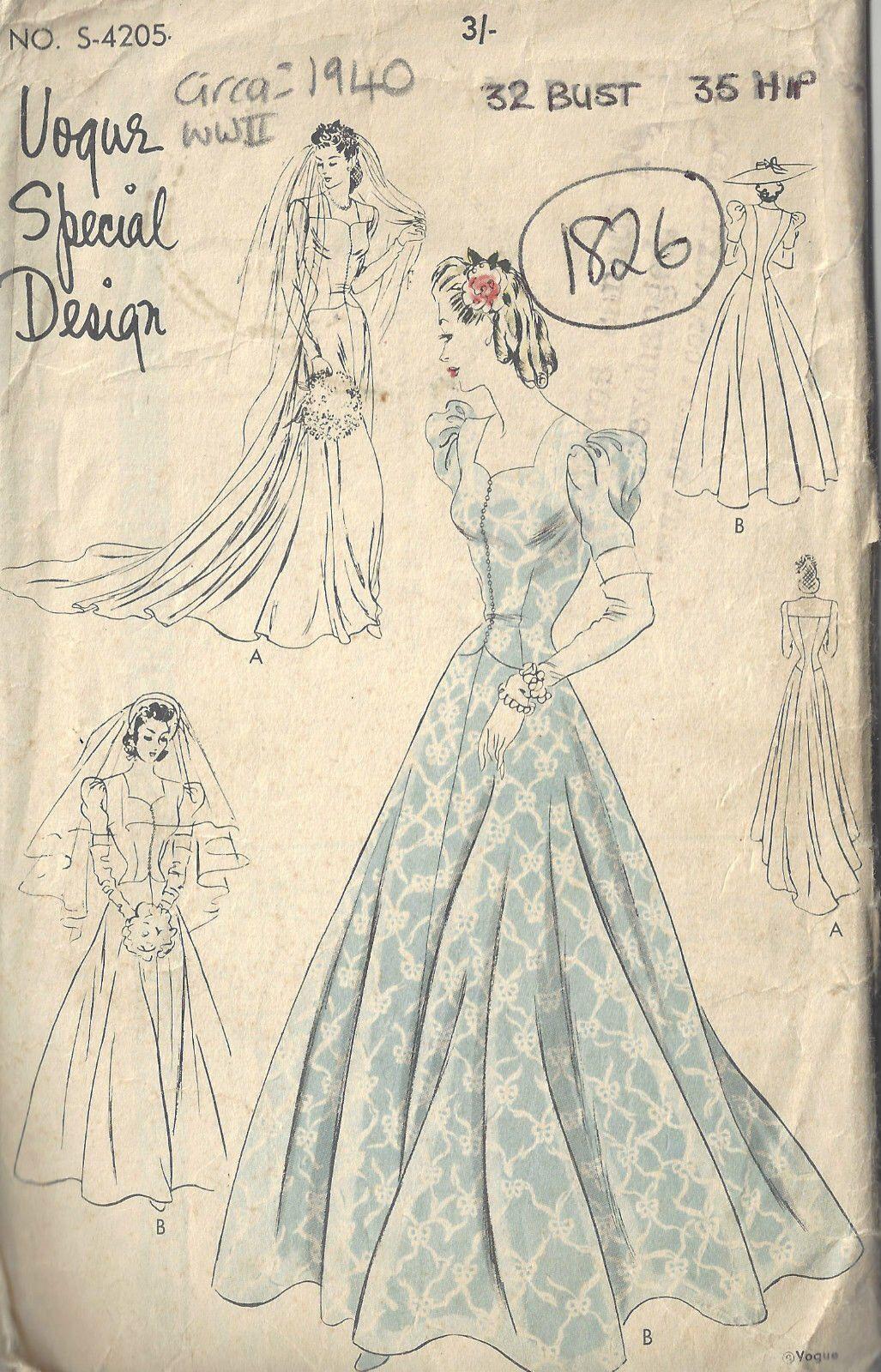 645a8ab42300 1940 WW2 Vintage VOGUE Sewing Pattern B32 WEDDING BRIDAL Gown & Dress  (1826)