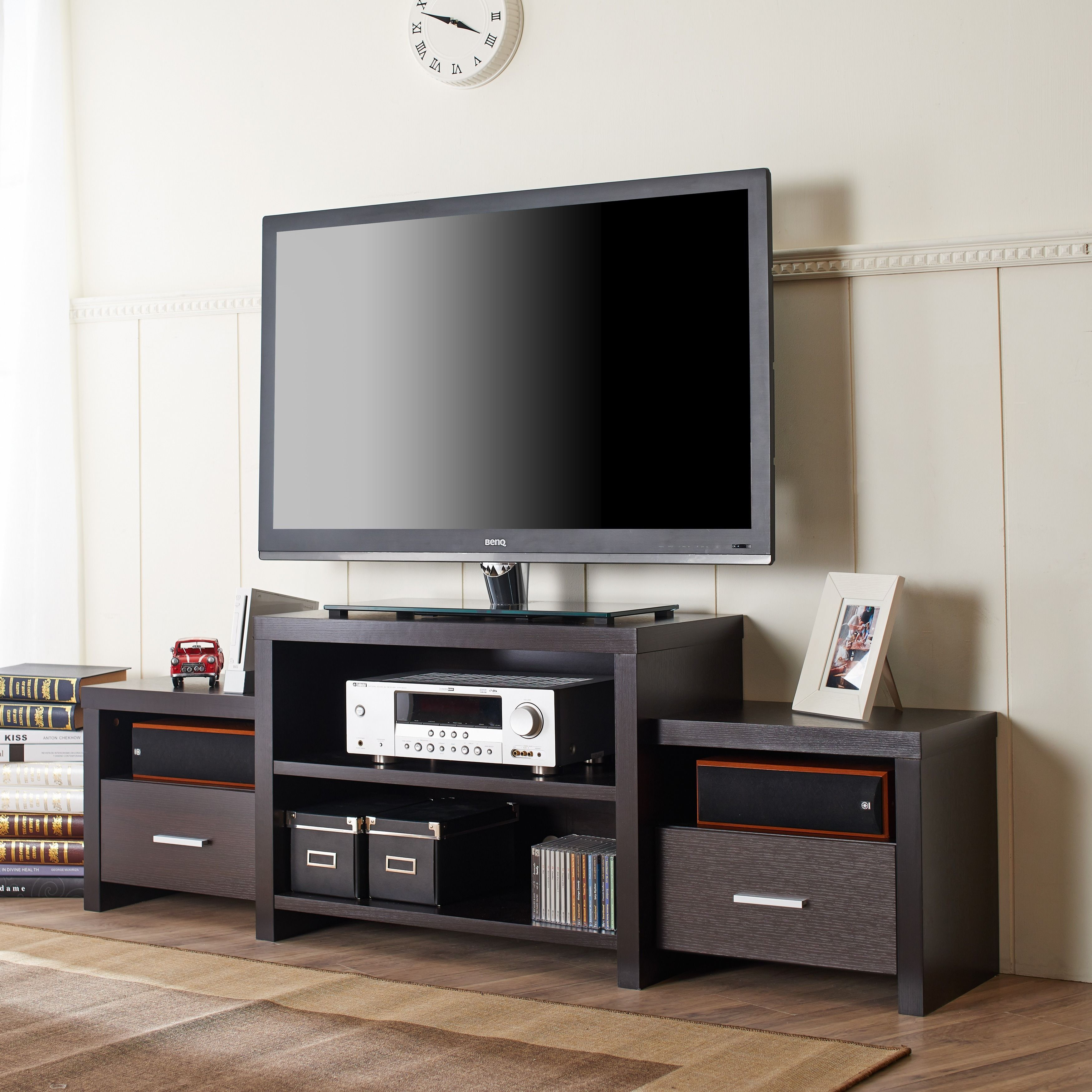 Furniture of America Brixten Tiered Cappuccino Entertainment TV Console    Overstock  Shopping   Great Deals. Furniture of America Brixten Tiered Cappuccino Entertainment TV