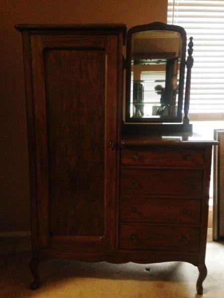 Handcrafted Antique Chifferobe Wardrobe/Dresser with Mirror - Handcrafted Antique Chifferobe Wardrobe/Dresser With Mirror Mom