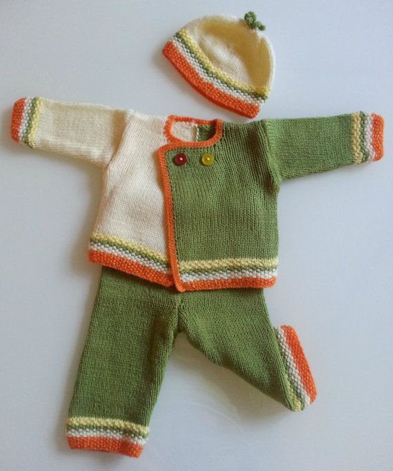 Hand Knitted Three Piece Baby Set Sweater, Pants And Hat