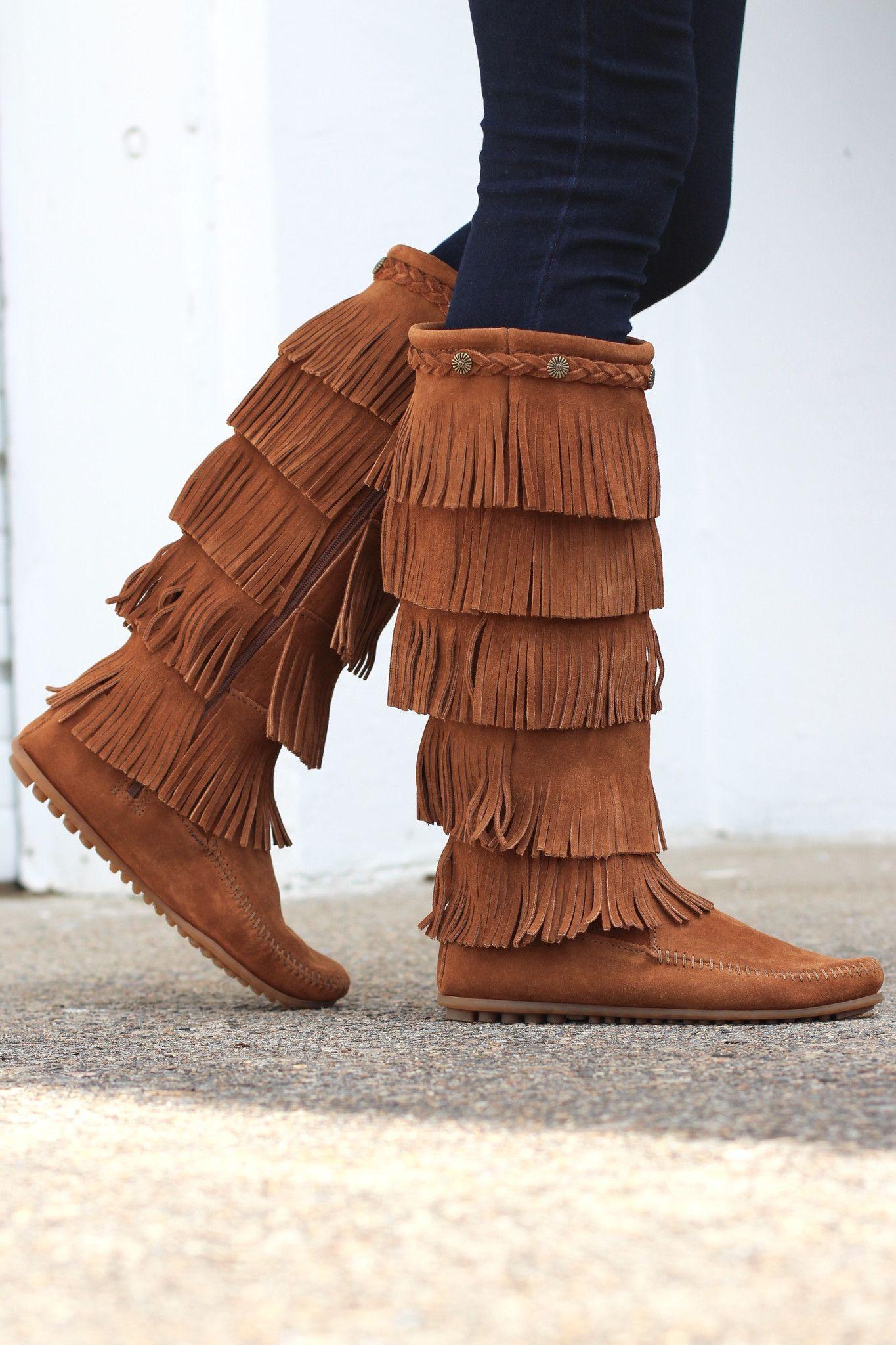 54529c0c4fa Minnetonka: 5 Layer Fringe Boot {Brown}   Trending Outfits   Fringe ...