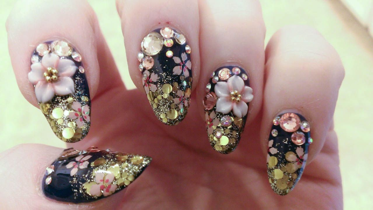 Nighttime spring cherry blossom nail design | Awesome nails | Pinterest