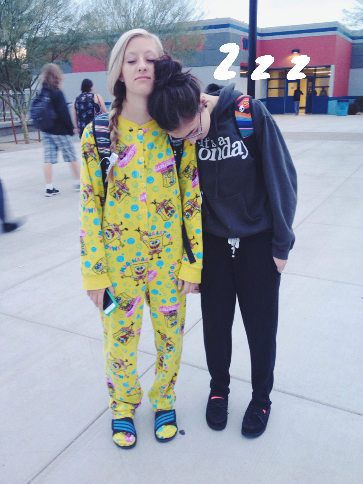 DVHS students dressed up for pajama day high school spirit