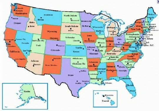 Visit Every Capital Of The USA Bucket List Pinterest Buckets - Usa map with states and capitals for kids