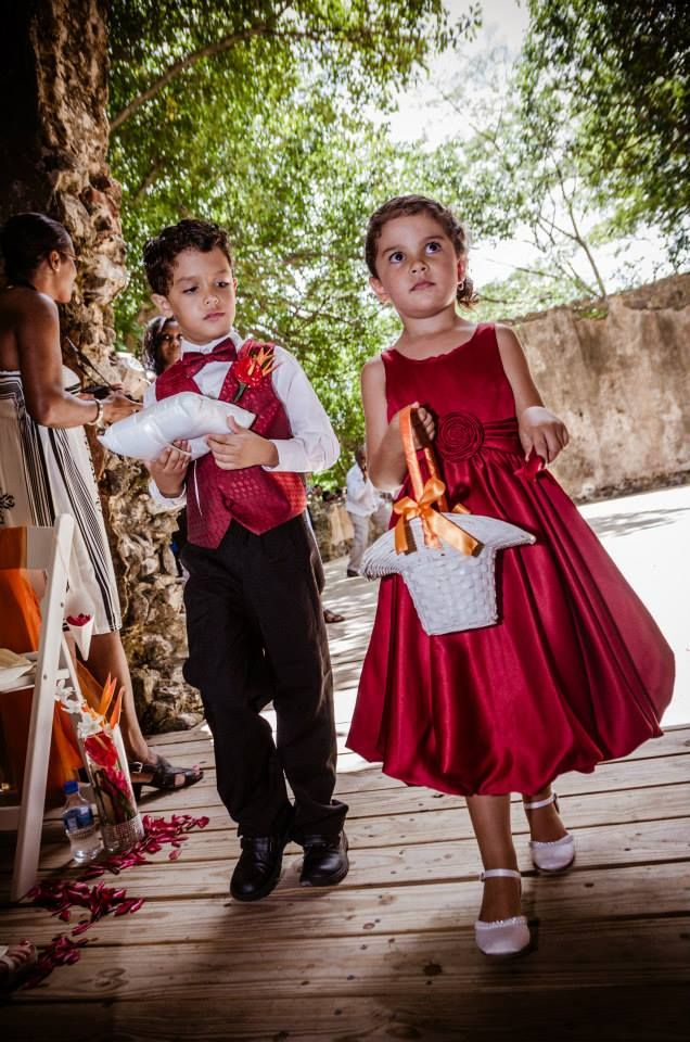 Matching Red Theme Outfits For The Ring Bearer And Flower Girl