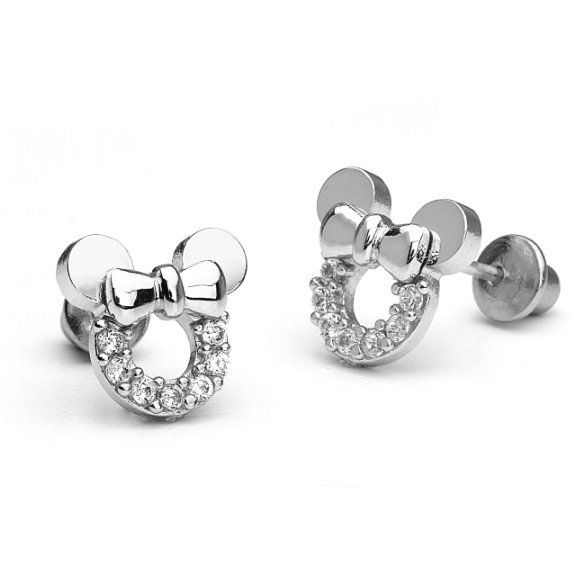 2709b3fc2 Amazon.com: 14k Gold Plated 925 Silver Minnie Mouse Children Screwback  Earrings Baby, Toddler, Kids & Children: Jewelry