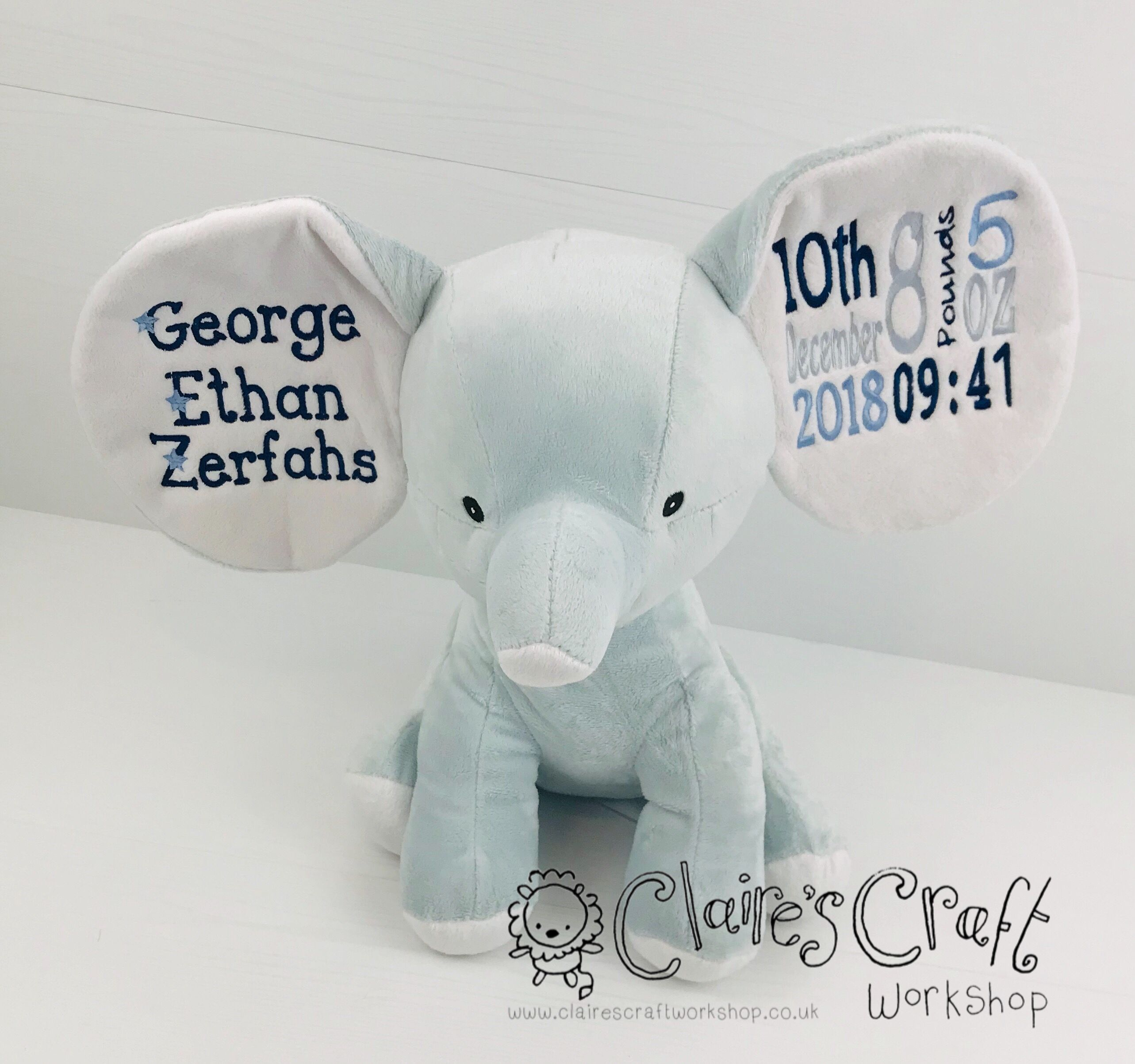Personalised Embroidered Blue Elephant Soft Toy//New Baby//Christening//Birthday