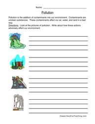 Pollution Worksheet | Science Worksheets, Worksheets and ...