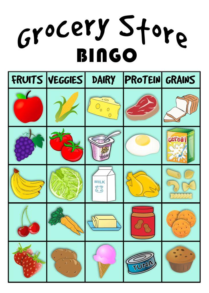 grocery store BINGO! Preschool food, Food groups for