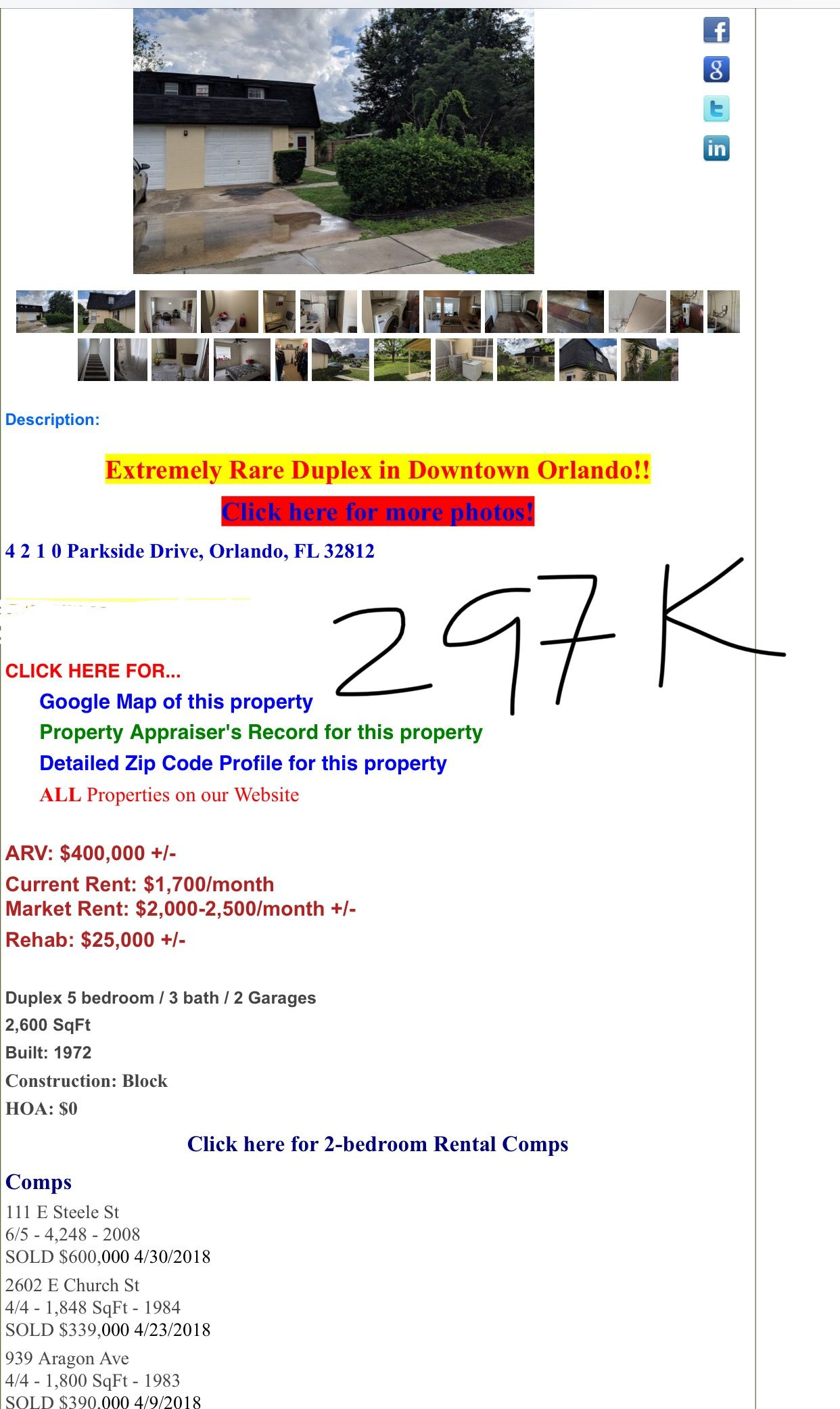 Duplex close to Downtown Orlando $297k, ARV $400k, 512-277-4461 or on map of zip code 32836, map of zip code 32807, map of zip code 32818, map of zip code 32837, map of zip code 32824, map of zip code 32827, map of zip code 32832, map of zip code 32806,