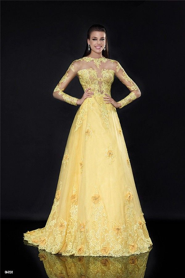 A Line High Neck Long Sleeve Yellow Tulle Lace See Through Prom Dress 8e353551c293