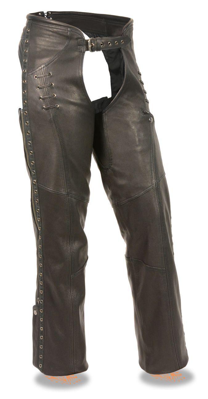 c6e50845031 Women s Lightweight Hip Set Chap w  Lace   Grommet Details - Premium Naked  Goatskin Leather - Decorative Grommet Twill