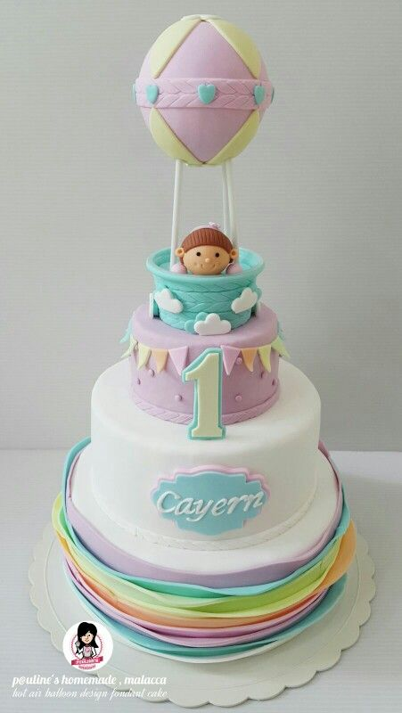 3d Hot Air Balloon Design Fondant Cake Paulineshomemademalacca
