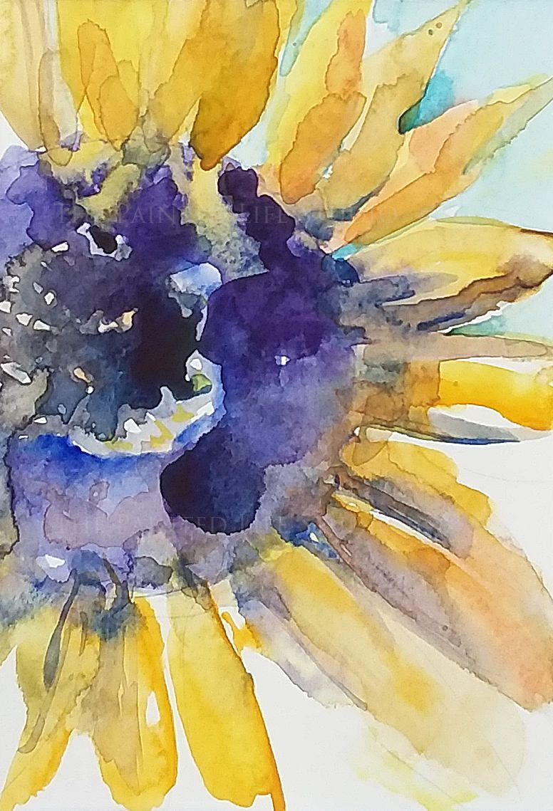 Sunflower Original Painting 5x7 Watercolor Matted Bright Yellow