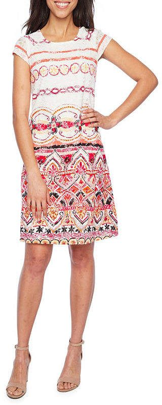 44592785dc285 Ronni Nicole Short Sleeve Lace Bordered Shift Dress | Products ...