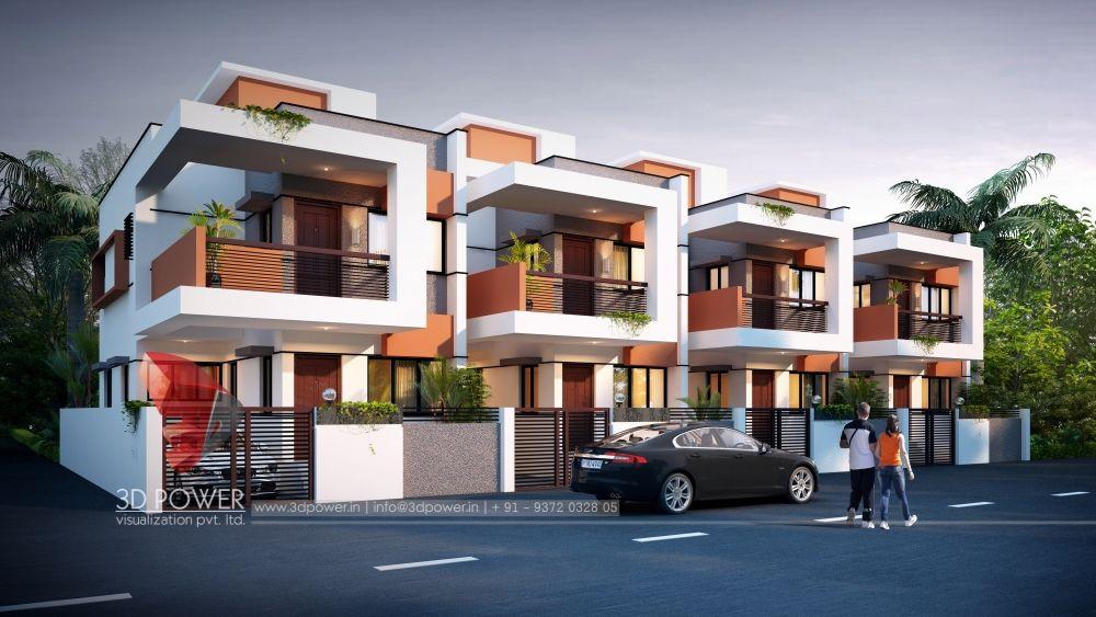 3d Visualization Of Sukhakarta Prime City Townhouse Exterior Architectural House Plans Row House Design
