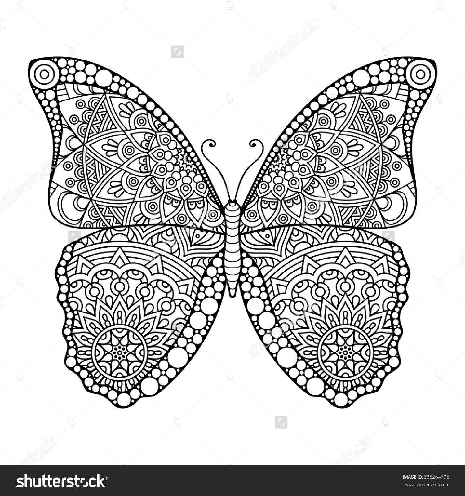 butterfly. vintage decorative elements with mandalas
