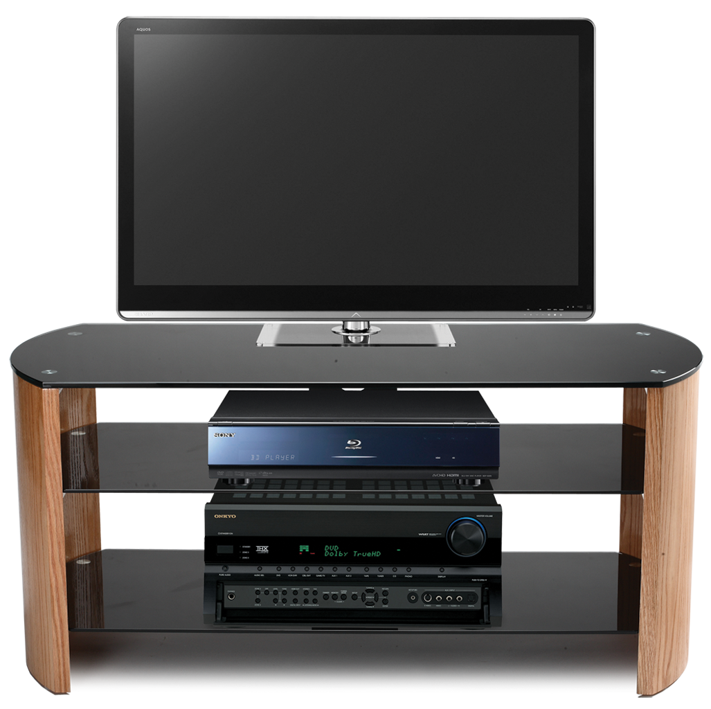 Stil Stand Light Oak Curved Designer Tv Stand Upto 50 Stuk2071  # Table Tv Plasma Moderne En Verre