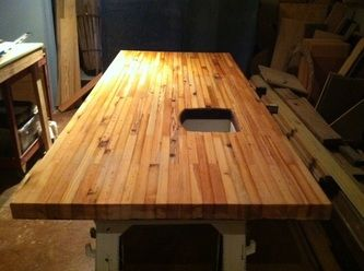 Exceptionnel Butcher Block Counter Top Made Of Reclaimed Heart Pine Before It Is Sanded  And