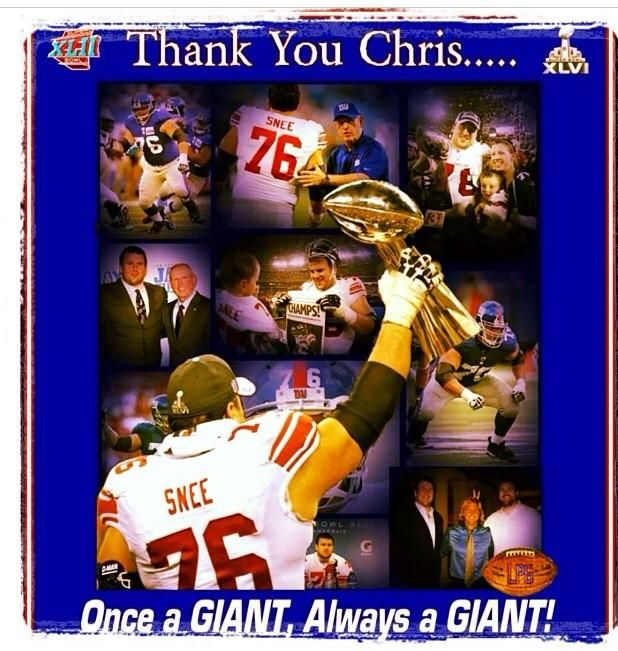 Once A Giant, always a Giant. Thanks for the 2 #superbowl wins, Chris Snee. #nyg