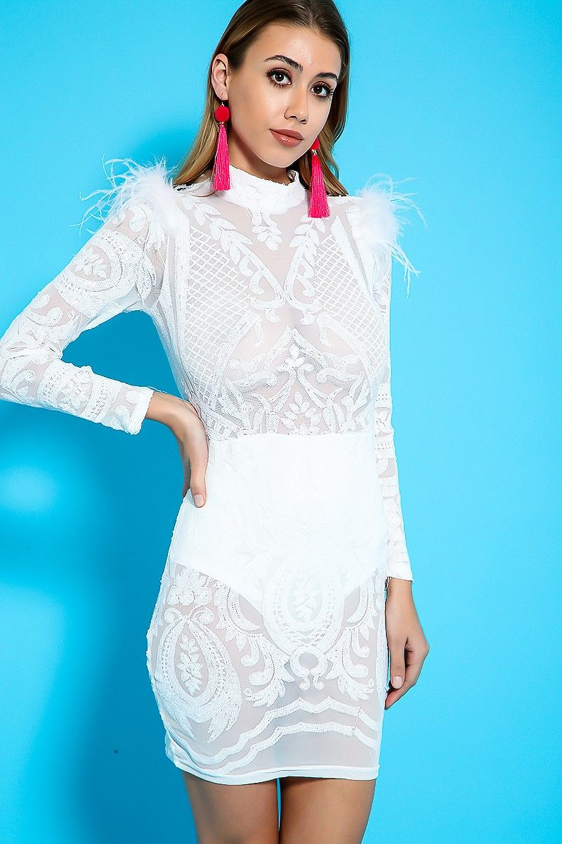 Sexy White Sequin Sheer Panel Faux Feather Party Dress | Spring ...