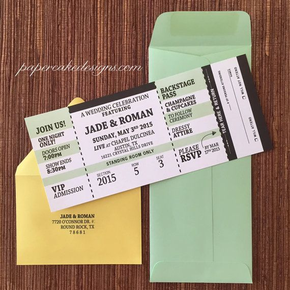 concert ticket wedding invitation with rsvp tear off