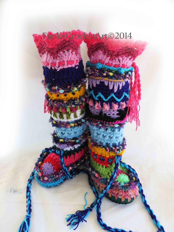 Crochet Slipper Boots/ Leg Warmer Combo Awesome Fashion, Handmade ...