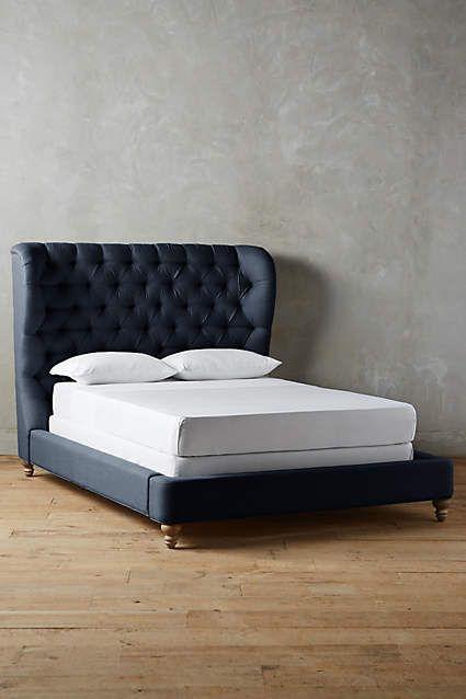 Velvet Tufted Wingback Bed
