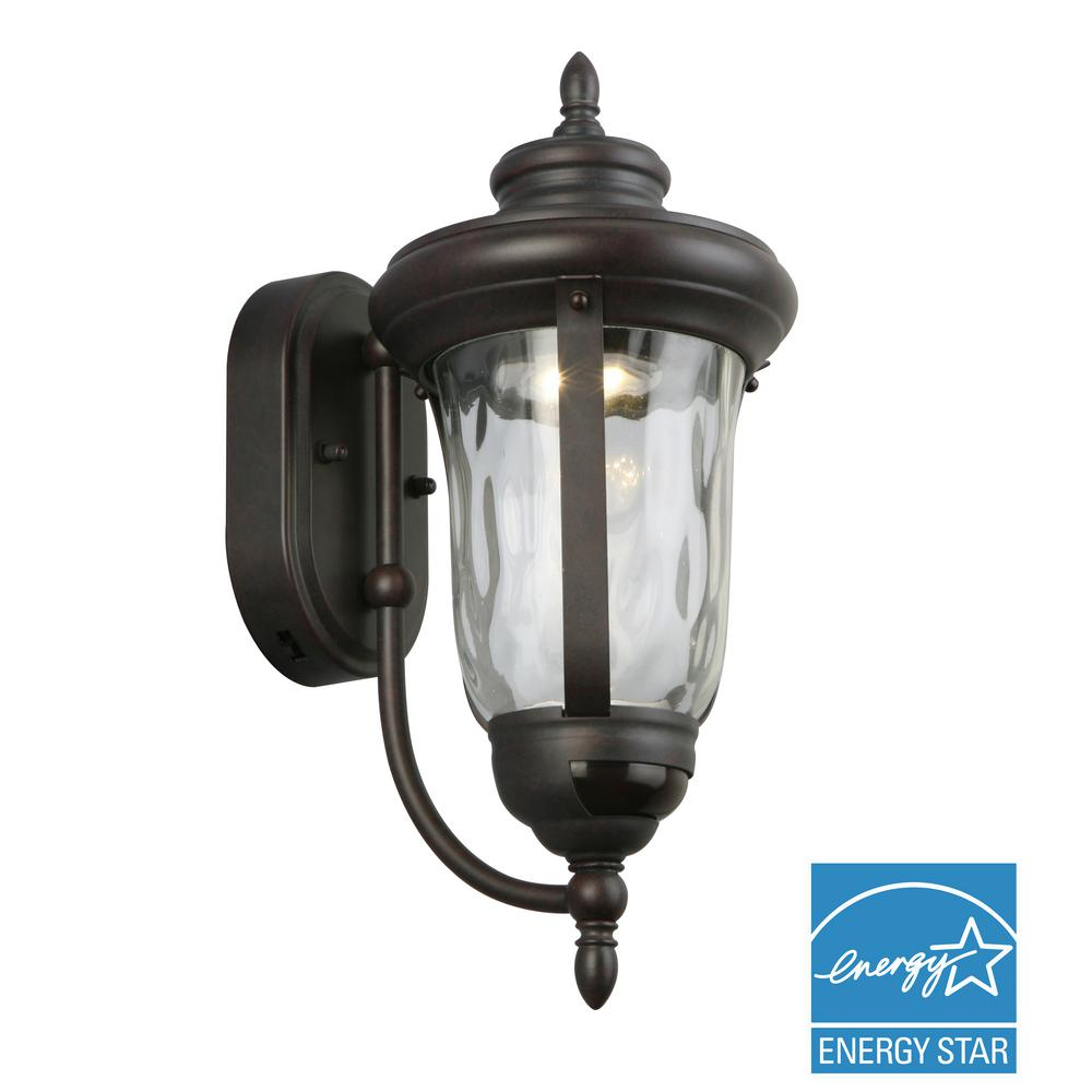 Home Decorators Collection Bronze Motion Sensor Outdoor Integrated Led Wall Lantern Sconce Feu1611lm The Home Depot Outdoor Wall Mounted Lighting Outdoor Sconces Wall Lantern