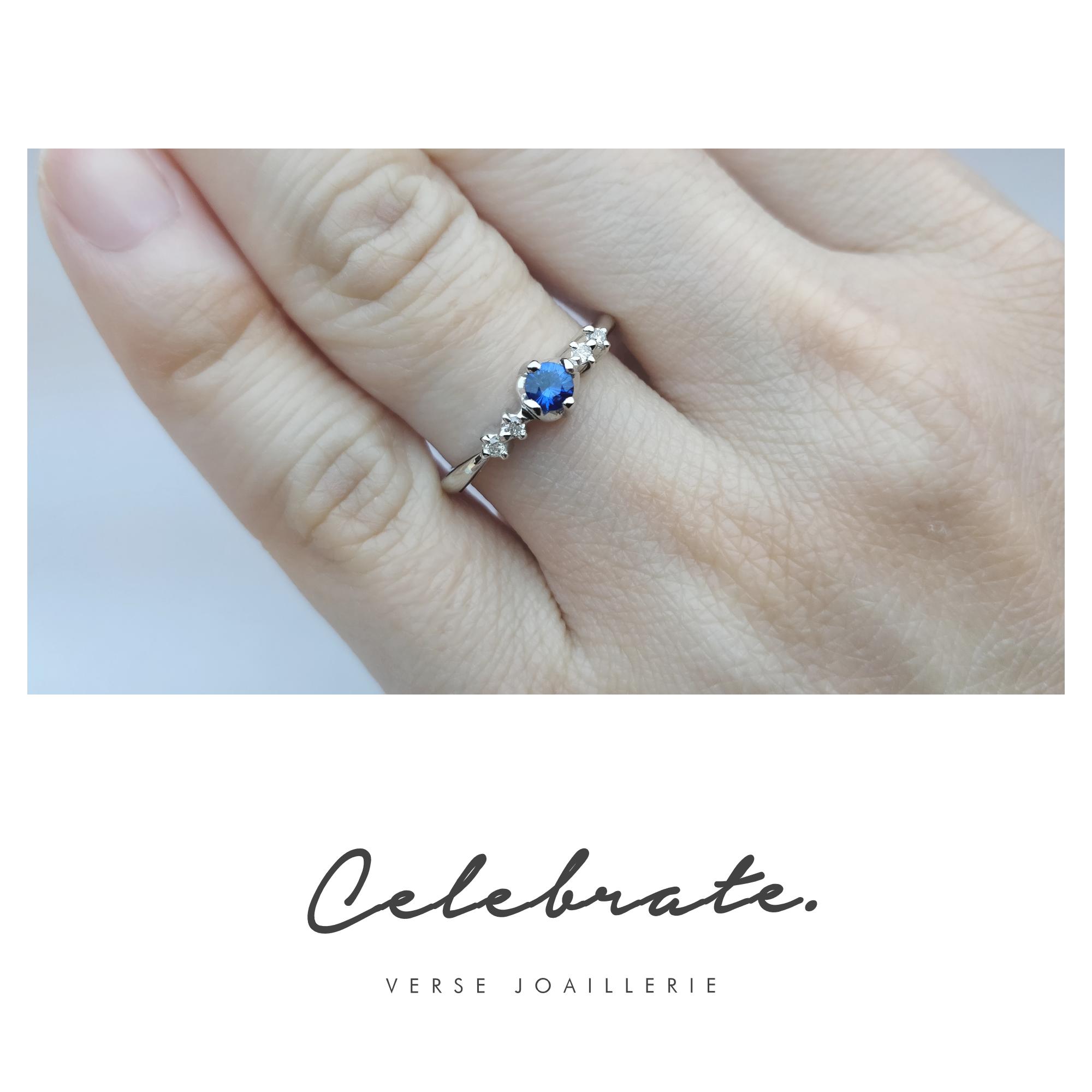 Anel Celebrate em ouro branco 18K, diamantes e safira. Descubra nossos aneis  solitários com 473ca35709