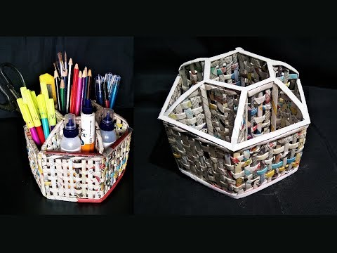 How to make a Desk Organizer using newspaper and cardboard / DIY desk organizer / Newspaper Craft