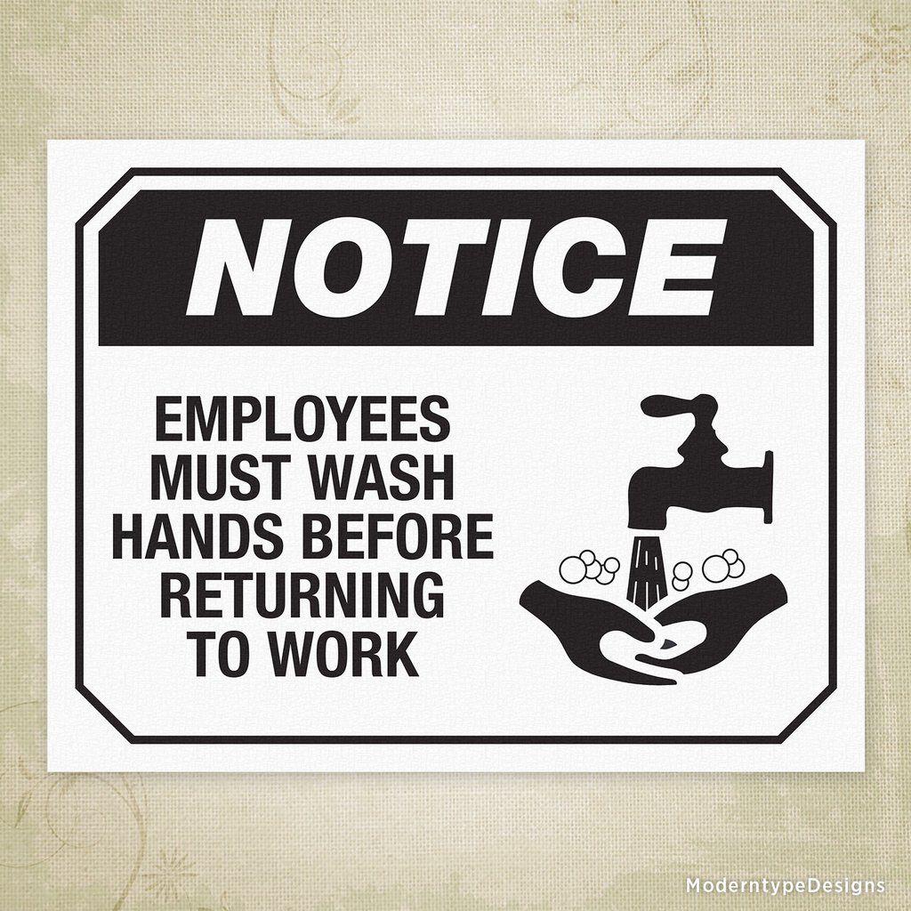Employee Wash Hands Printable Sign
