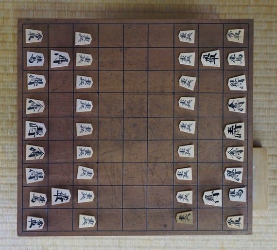 Japan chess Shogi thick wood board 1900s Japan game