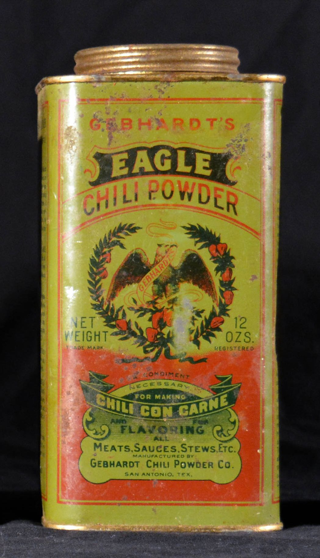 Vintage Gebhardt S Chili Powder 12 Oz Tin Antique 1930 S Era All Metal Spice Tin Includes 3 Recipes Printed On Side Spice Tins Antiques Old Spice
