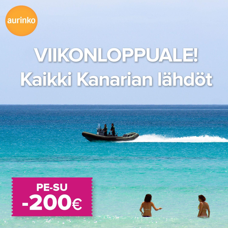 VIIKONLOPPUALE! Kaikki huhtikuun Kanarian lähdöt sunnuntaihin 23.2. asti nyt -200 €. #matkatarjous #loma #Kanariansaaret