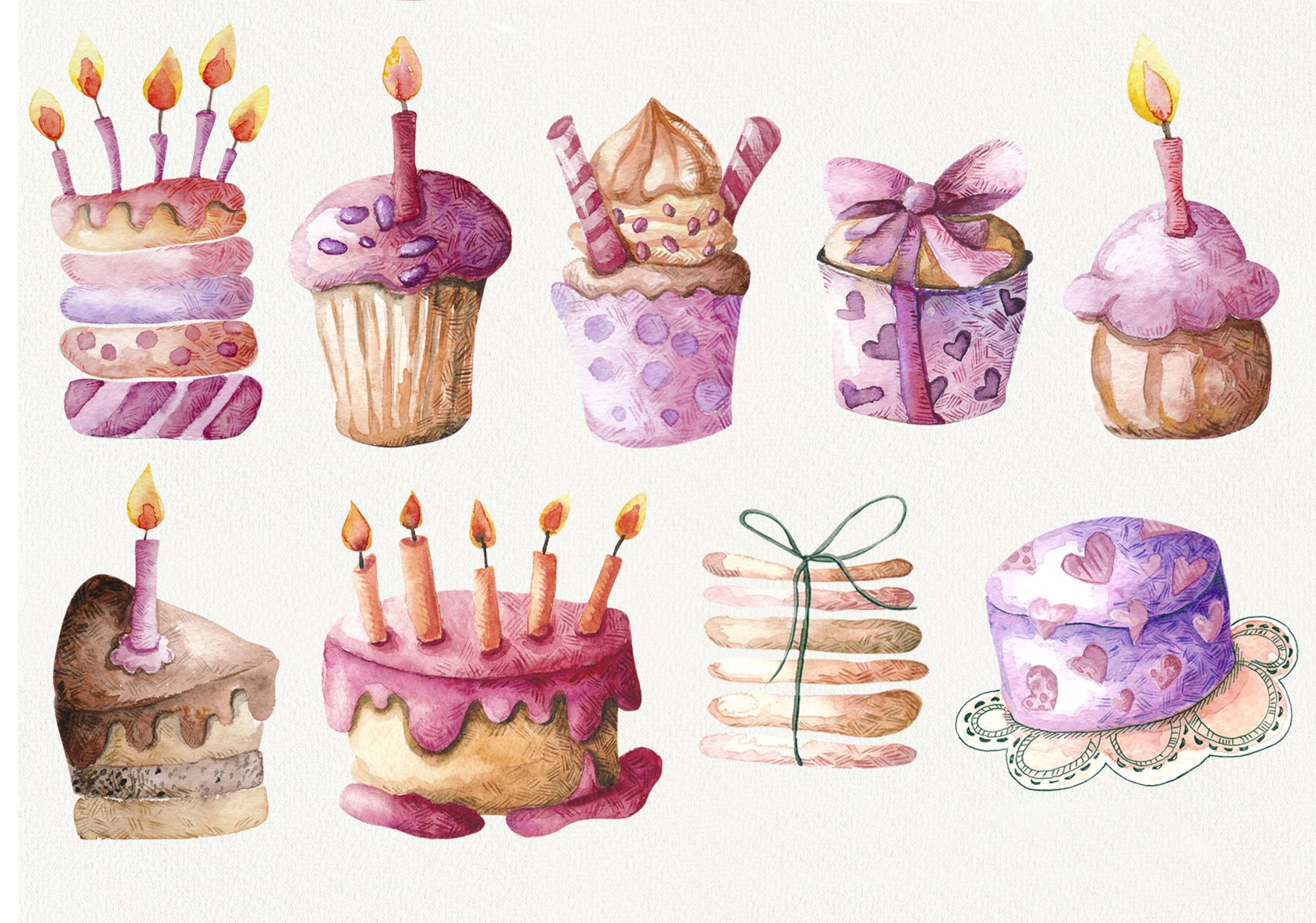 Birthday Party Watercolor Clipart 137998 Illustrations Design Bundles Watercolor Clipart Illustration Art Kids Clip Art