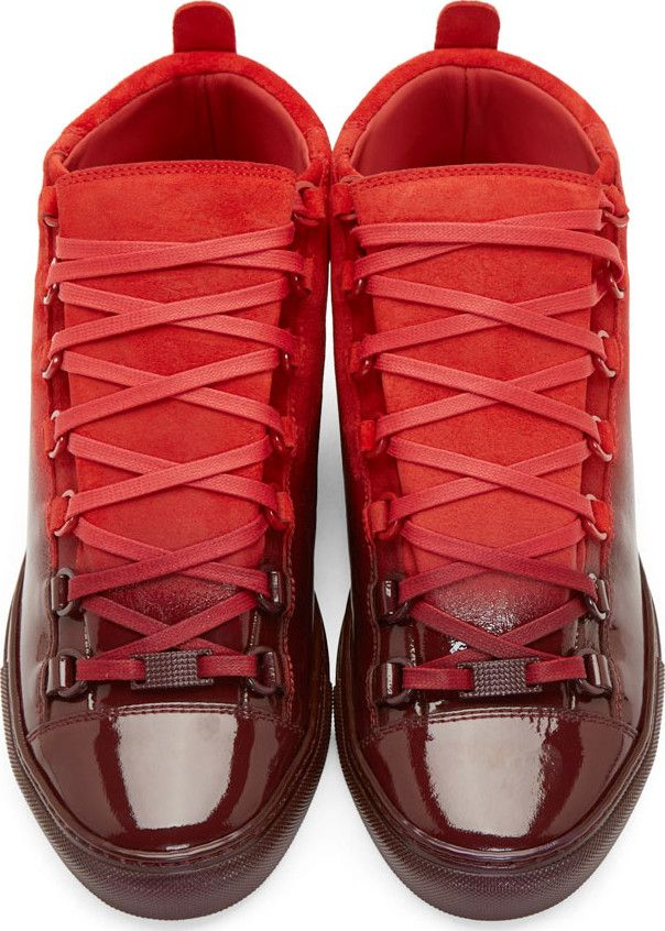 211aee39b7ab Balenciaga - Red Suede Ombré High-Top Sneakers