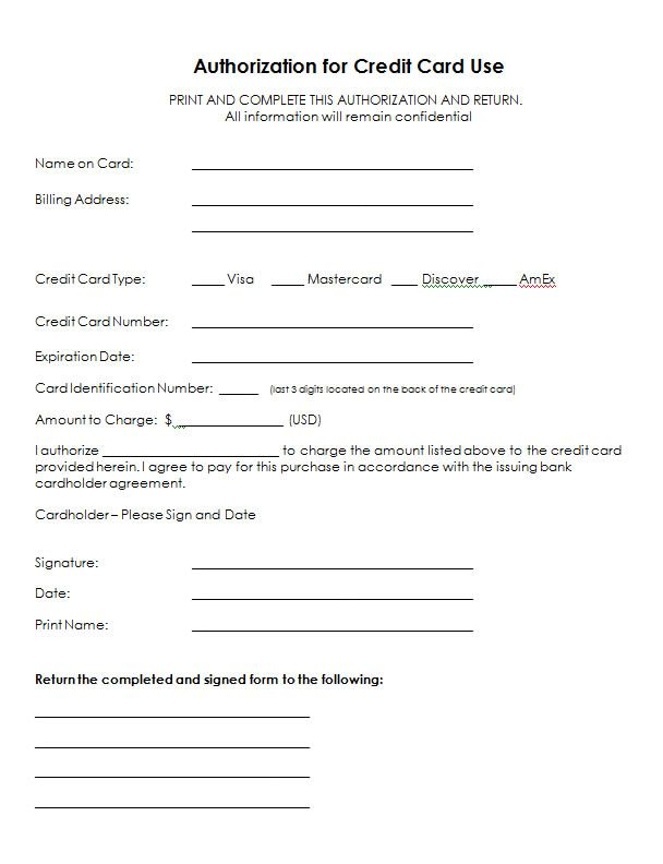 credit card authorization form templates formats examples word