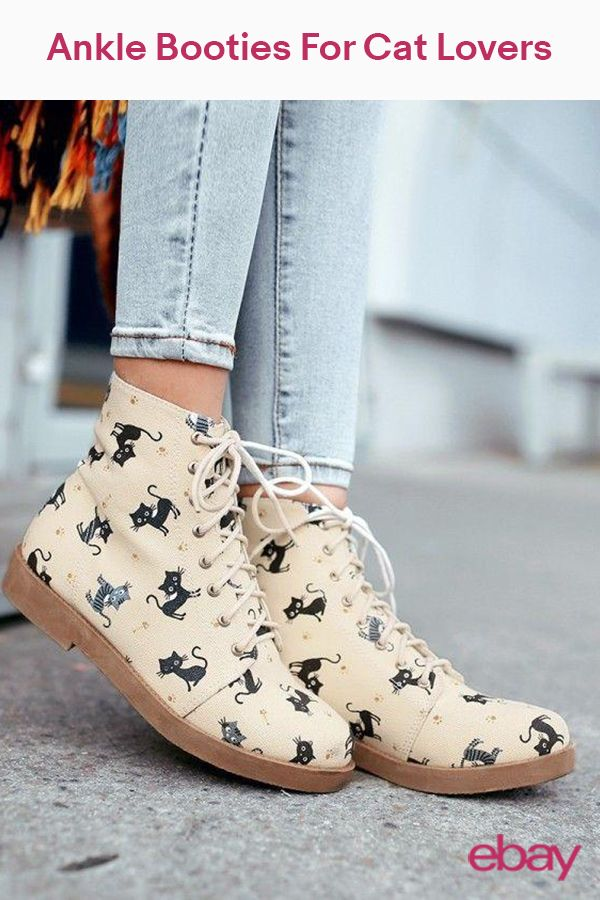 62f13f13e09ad Cat Print Oxfords Lovey Womens Riding Ankle Boots Canvas Lace-up Casual  Shoes SZ
