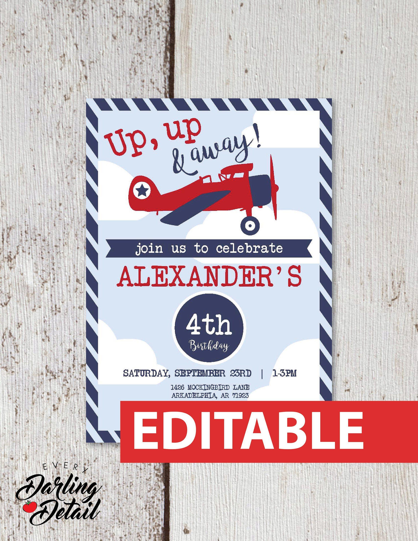airplane birthday invitation editable instant download invite up